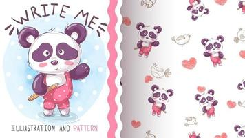 Watercolor panda character and seamless pattern vector