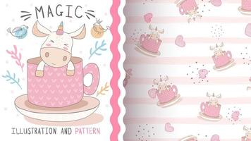 Cute magic unicorn character and seamless pattern vector