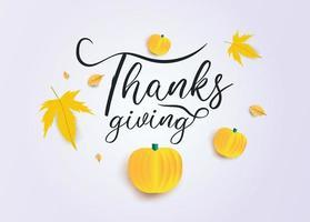 texto de acción de gracias con calabazas y hojas de otoño en gris vector