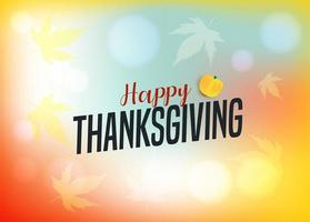 Happy Thanksgiving with maple leaves on colorful gradient vector