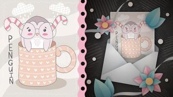dulce pingüino tarjeta de felicitación