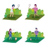 People doing activities outdoors set vector