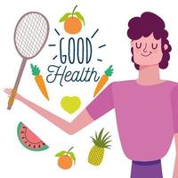 Man with healthy fruits, vegetables and racket