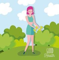 mujer joven, levantar pesas, aire libre