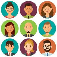 Business people round avatars vector