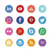 círculo redondo pintura estilo marco iconos de redes sociales vector