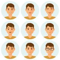 conjunto de avatar de expressões faciais de homem