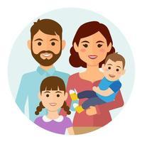 familia feliz icono redondo vector