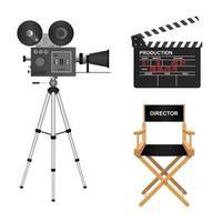 Retro cinema projector, clapper board and director chair