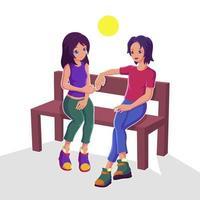 Paar sitzt auf einer Bank vektor