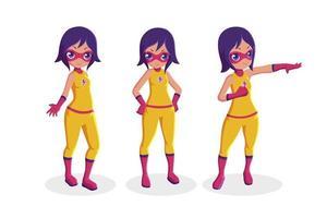 Girl superhero collection vector