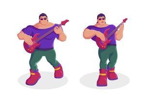 homem estrela do rock tocando guitarra