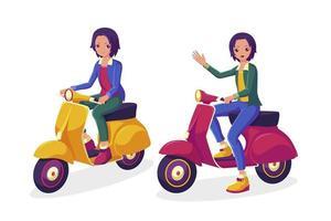 colección de scooter joven montando vector