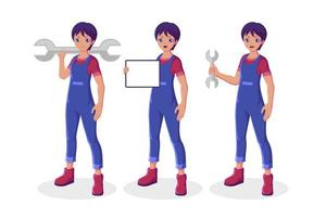 Male mechanic collection vector