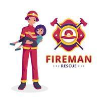 bombero rescata a una niña vector
