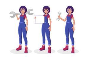 Girl mechanic collection set vector