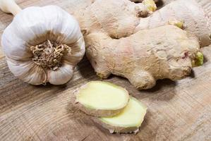 Ginger and garlic. Concept for natural medicine. photo