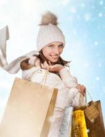 lovely woman with shopping bags photo