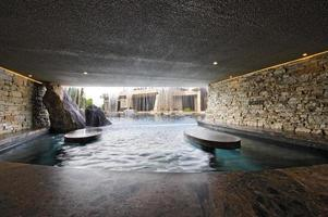 Pool With Stone Walls Against House