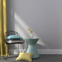 cadeira preta perto da mesa azul