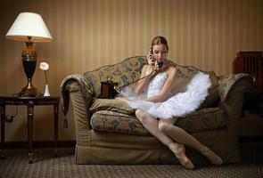 Ballerina talking on the phone