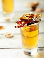 Rum and caramelized walnuts. Krokant.