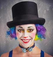 Smiling clown and colorful photo