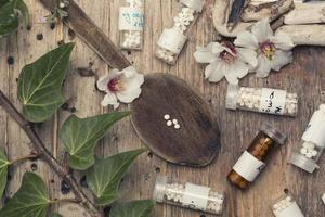 bottles with homeopathy globules and spoon photo