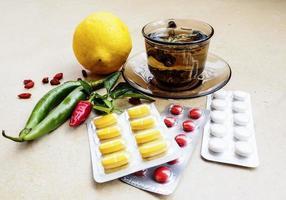 Tea and pills photo