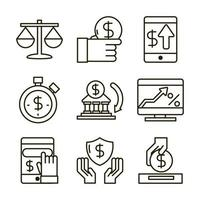 Economy and investment business icon assortment