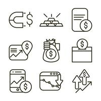 Stock market and financial pictogram icon pack vector