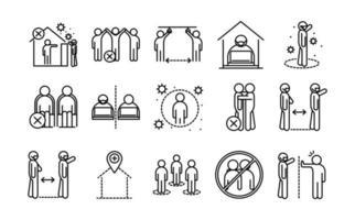 Colección de iconos de pictogramas de contorno de distancia social y coronavirus
