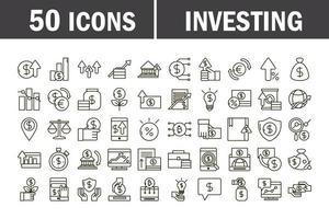 conjunto de iconos de negocios de economía e inversión vector