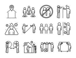Conjunto de iconos de pictograma de contorno de distancia social y coronavirus