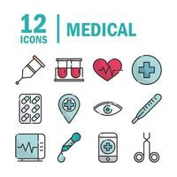 Pack of medical and health care equipment line and fill icons  vector