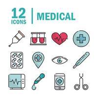 paquete de línea de equipos médicos y de atención médica e iconos de relleno