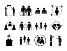 pacote de ícones de pictograma de silhueta de distância social vetor