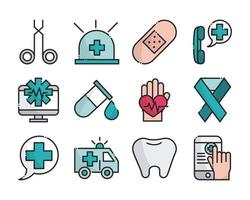 Collection of medical and health care equipment line and fill icons