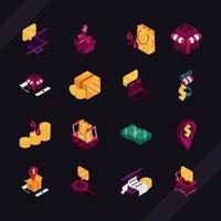 Online shopping and commerce isometric icon pack
