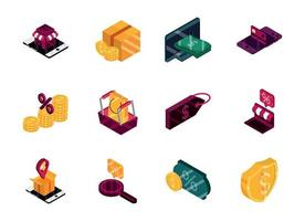 Online shopping and commerce isometric icon set