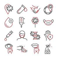 Collection of medical care and viral infection bicolor pictogram icons