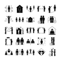 distancia social silueta pictograma conjunto de iconos vector