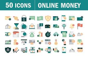 Online money and mobile finances flat icon set