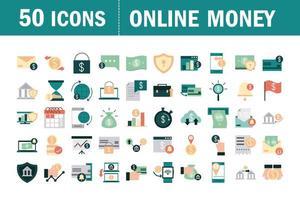 Conjunto de iconos planos de dinero en línea y finanzas móviles