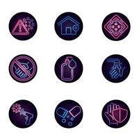 Viral disease neon-style icon collection vector