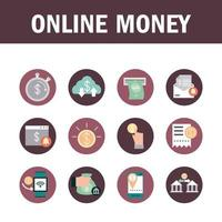 Mobile banking and finances icons collection