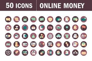 Mobile banking and finances icons set
