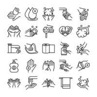 Higiene de manos y control de infecciones colección de iconos de pictogramas.