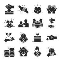 Donation for charity and social assistance silhouette icon set