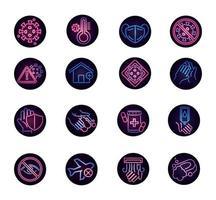 Viral disease neon-style icon set